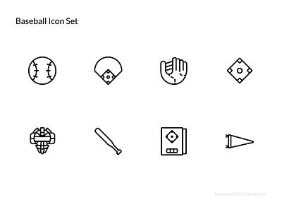 Linewerk Baseball Icon Set bat hat ball base games thin simple ui sports thinline icon baseball