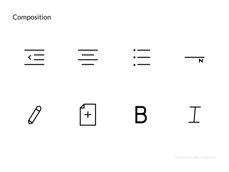 Linewerk Composition Icon Set icon artwork paper book blog design stroke line thin interface blog composition writing icon