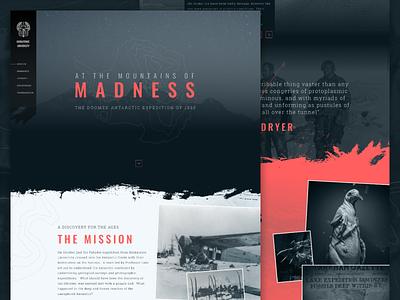 Mocktober 2018 - At The Mountains of Madness design website marketing mocktober2018 horror cthulhu antarctic expedition mission mocktober lovecraft