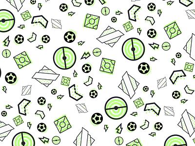 Soccer Pattern ball grass field lighting bolt lighting pitch design thin vector soccer sports football icon illustration