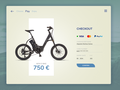 #DailyUI 02 / E-bike Checkout website typography ux ui uiux design daily 100 challenge app