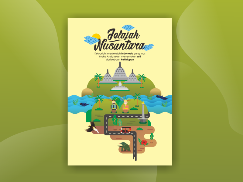 Nusantara Poster Design flat design poster design poster art indonesia designer indonesia art illustrator minimal flat typography animation illustration design