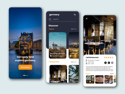 Germany travel mobile app concept