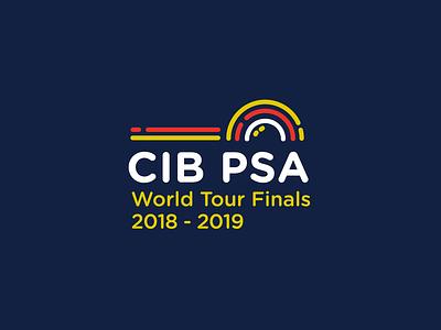 CIB PSA - World Squash Championship Tour Finals tennis racket ball squash illustration sports logo mark logo branding