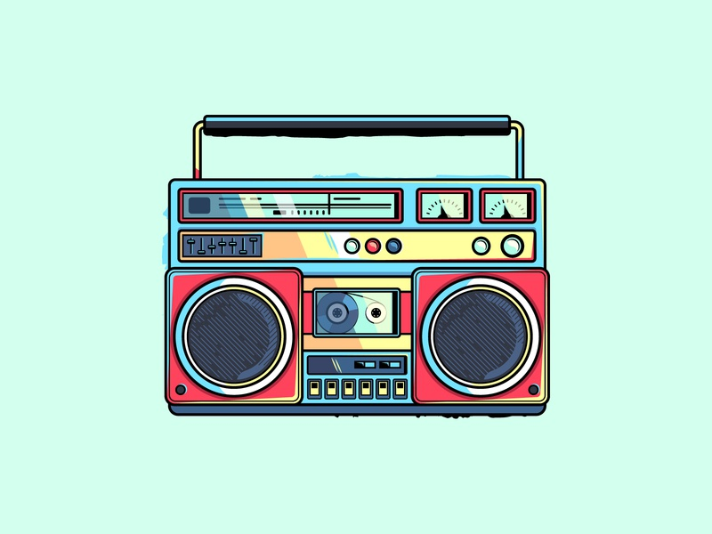 Boombox illustration retro vintage player cassete music tape recorder boombox