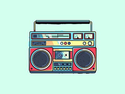 Boombox illustration retro vintage player cassete music tape recorder boombox