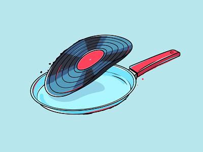 Vinyl record illustration retro vintage music cook pan vinyl