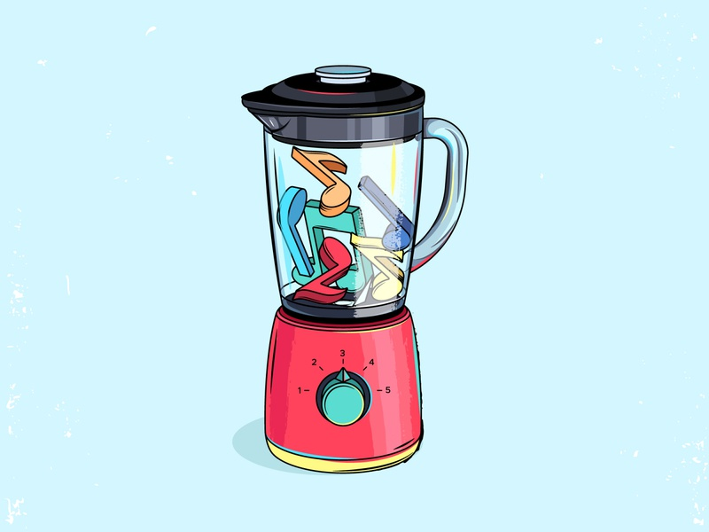 Blender illustration cartoon retro vintage musical note music blender