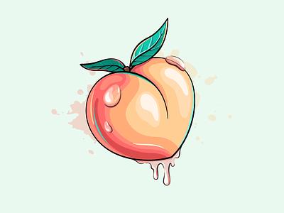 Juicy peach butt heart style cartoon drawing fruit illustration leak fruit juice peach