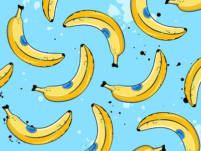 Banana pattern background pattern tropical fruit style cartoon grunge sticker peel banana