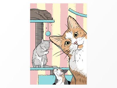 Cats cartoon illustration drawing kitten feline animal cat house cat
