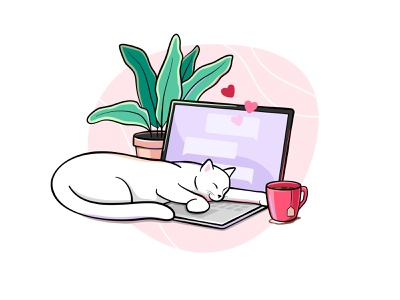 Sleeping cat coffee tea chat cup messager plant laptop sleep cat