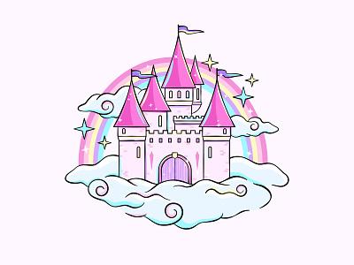 Castle drawing icon illustration rainbow unicorns pink fantasy fairytale chateau castle