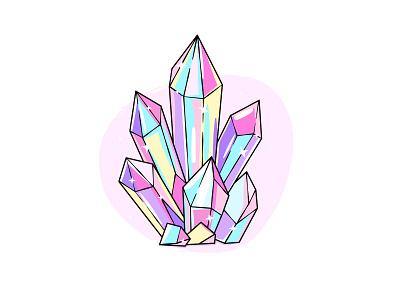 Crystals drawing illustration rainbow fantasy shine sparkle diamond crystal