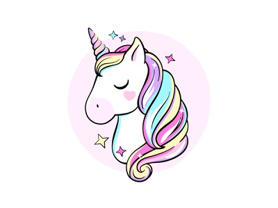 Unicorn drawing illustration icon pink rainbow fairytale fantasy unicorn