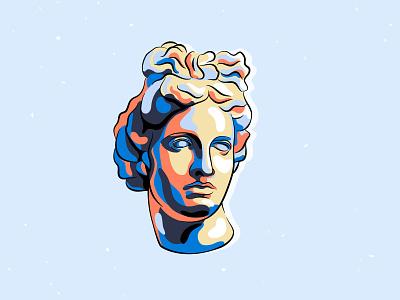 Apollo abstract spot art antique statue sculpture head apollo