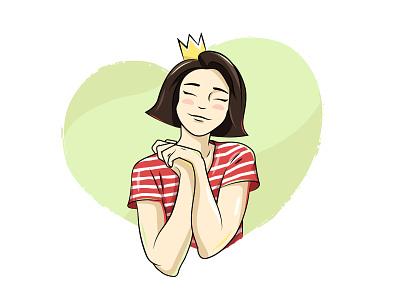 Princess drawing greeting postcard card illustration cute birthday character cartoon woman girl princess