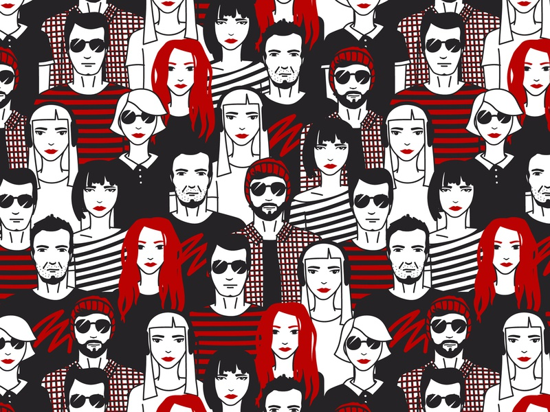 People graphic man girl art illustration character hipster pattern people