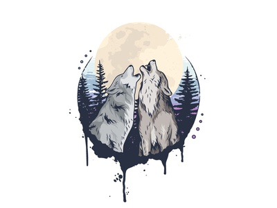 Wolves grunge vector illustration wildlife animal forest moon nature wolves wolf