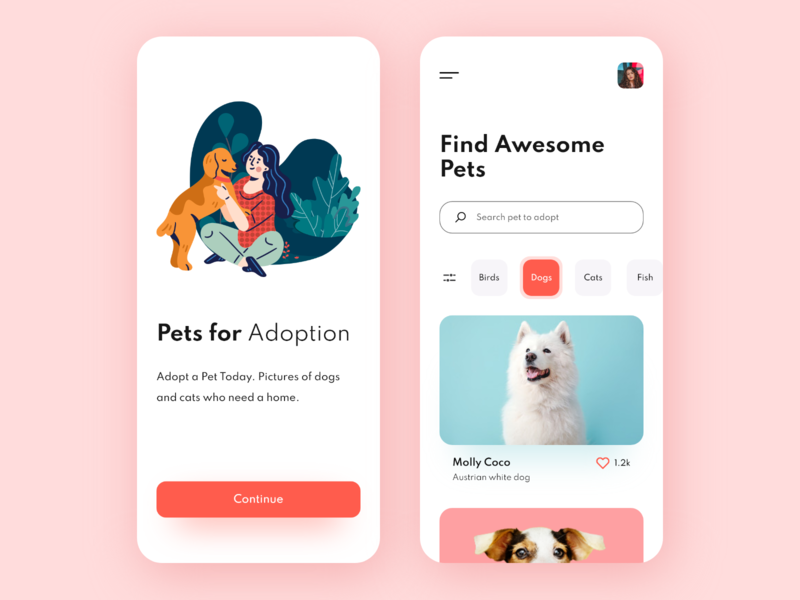 Pets Adoption - Mobile App minimal mobile app design mobile ui e-commerce ui user interface pets illustration dog pet adoption app application animals adoption