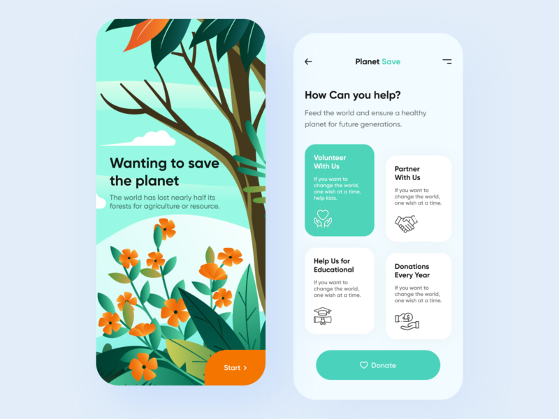 Save the planet - Mobile App donation donate clean design trend design 2020 illustration minimal mobile design mobile app mobile ui porductdesign webdesign typography