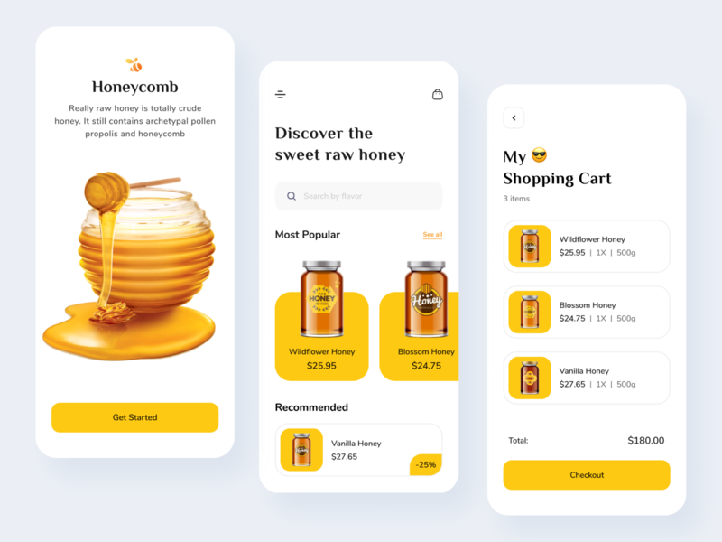 Honey Shop - Mobile App top ux ui designer ui ui design mobile app design mobile app mobile cards design hafiz shopping minimal design 2020 creative branding honey shop honeybee honey beekeeping beekeeper