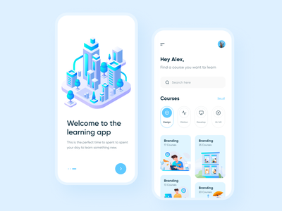 Online Courses Mobile App illustraion creative minimalist typography learning app learning online learning online courses online course courses app designer mobile app app ui app design