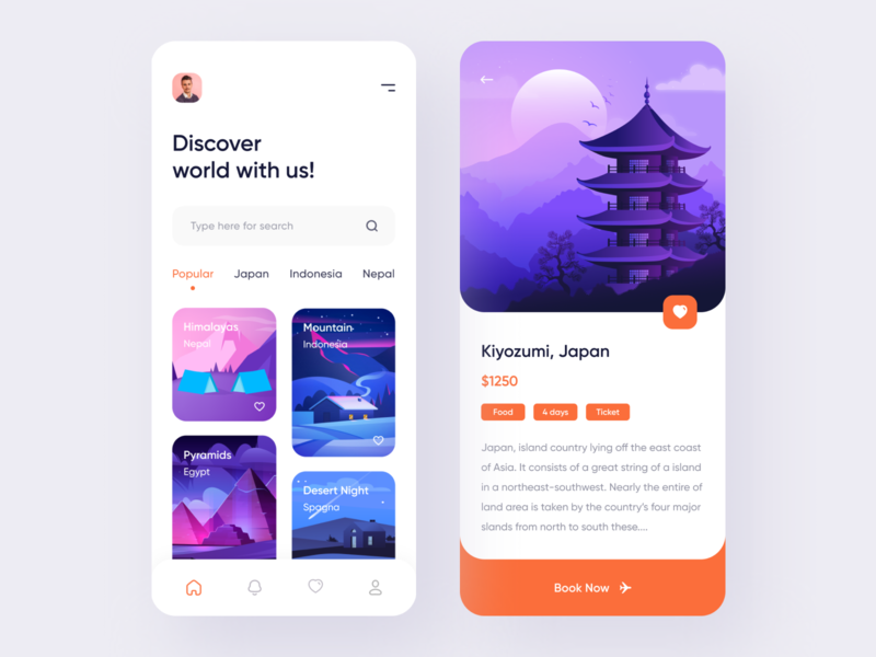 Travel Service - App Design Concept trip planner trip traveling travel app travel agency travel mobile design mobile app illustraion dribbble best shot booking app app design app adventure 2020 trend