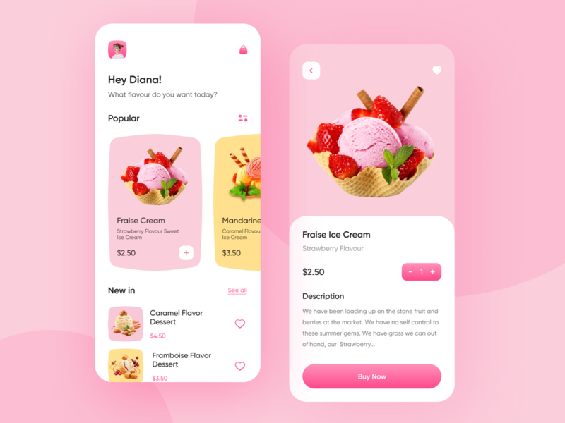 Food Delivery - Mobile App ice cream mobile design illustration minimal mobile app app design ux design ui design ux ui hafiz mobile delivery app delivery food app food