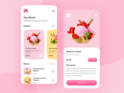 Food Delivery - Mobile App ice cream mobile design illustration minimal mobile app app design ux design ui design ux ui hafiz mobile delivery app delivery food app food