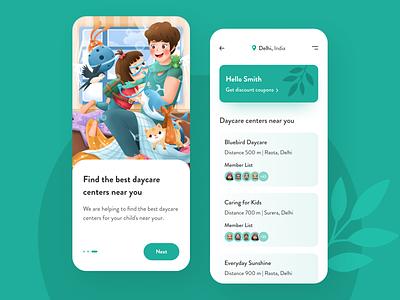Daycare Center - Mobile App childcare child care daycare center daycare ux mobile illustraion ui mobile design app design minimal mobile app app