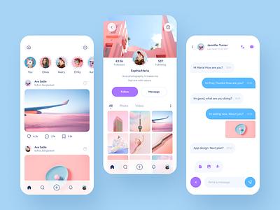 Social Media App Design Concept ui ux mobile design mobile minimal mobile app social media app social app social media social linkedin twitter instagram facebook