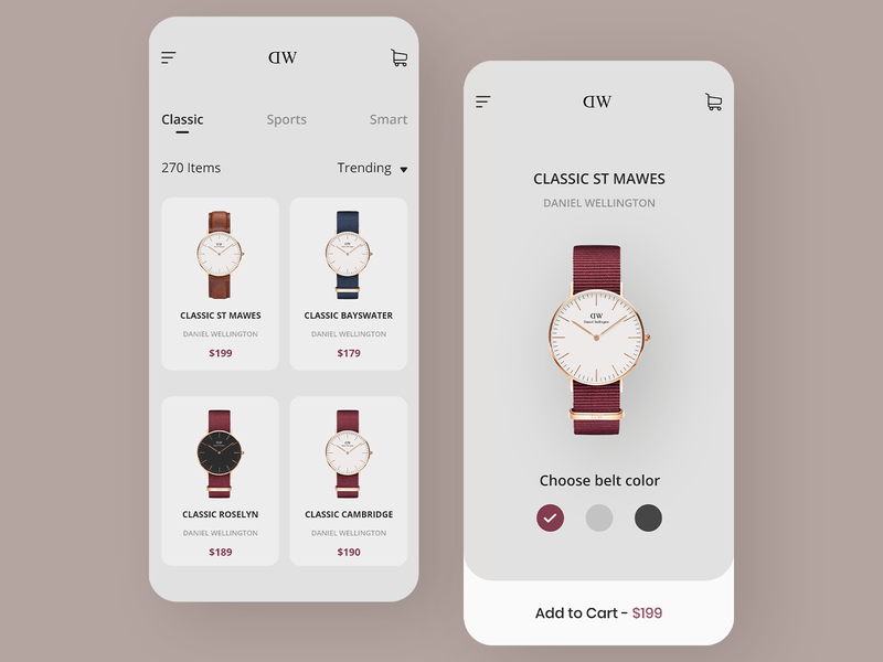 Mobile app - Watch Shop uiux ux ui store shop minimalist minimal ecommerce app clean ecommerce app add to cart
