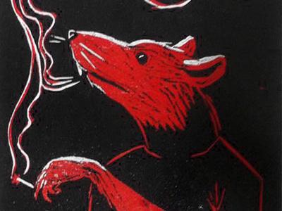 Rato Xilo xylography smoking rat xilography woodcut