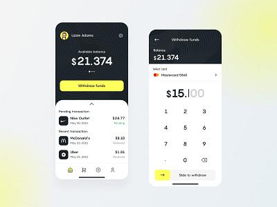 Cashback app concept 💸 ux yellow minimalistic figma pattern cashback concept banking ui