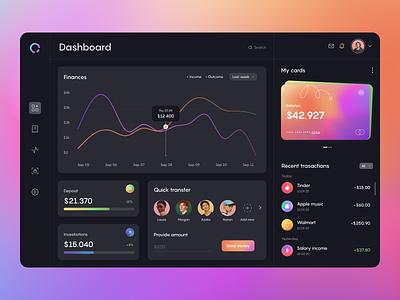 Dark Theme Banking Dashboard web web app finance credit card money fintech banking ux figma transaction mesh gradient gradient dark theme ui dashboard