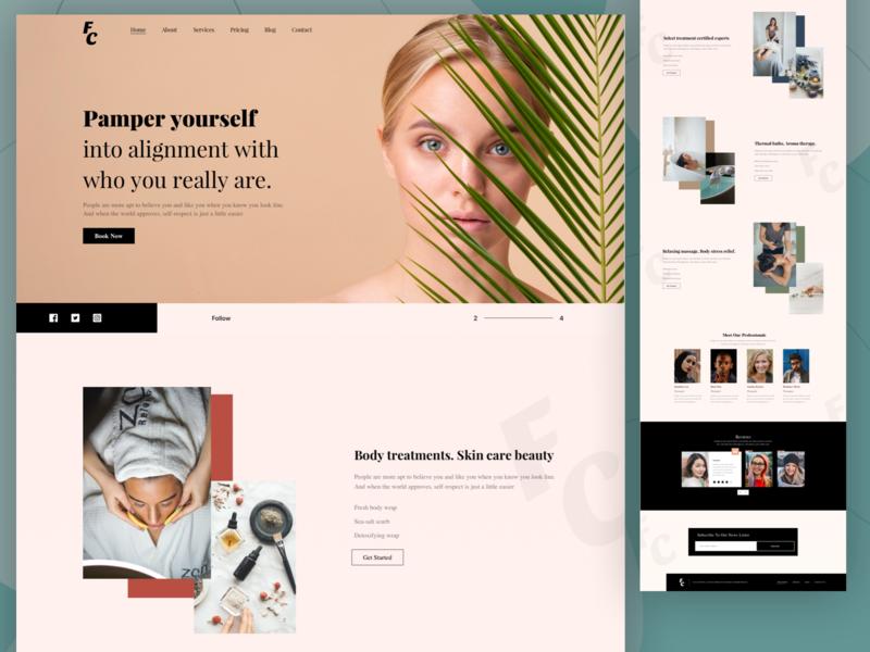 Spa home page web design minimal ui ux web website typography branding design