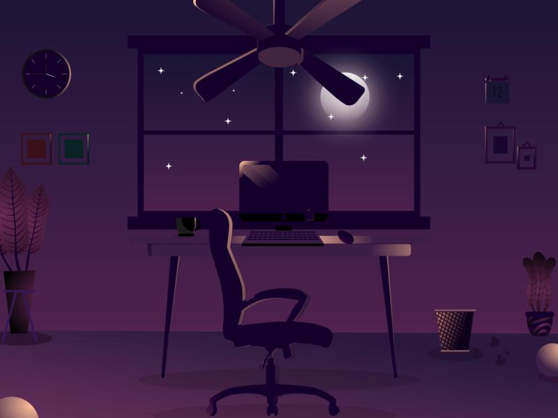 late night work flat minimal vector design illustration