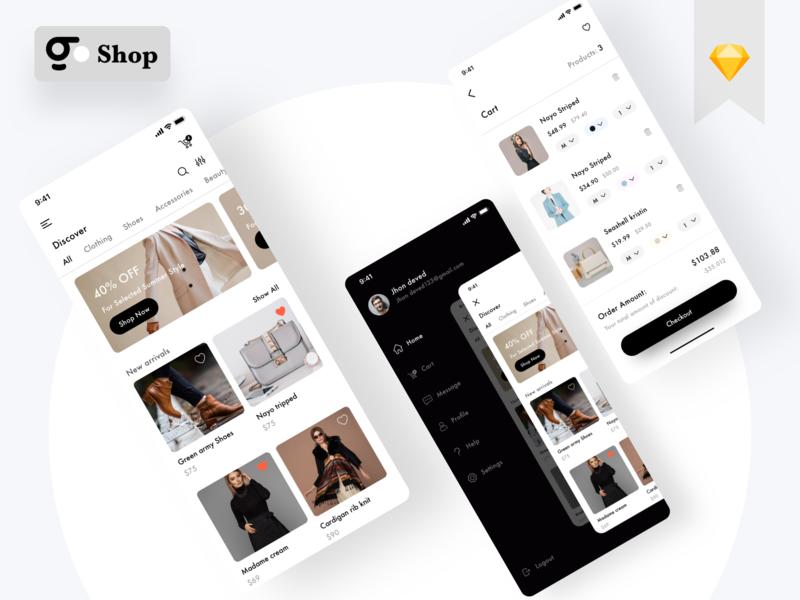 E commerce App minimal typography branding app ux ui design
