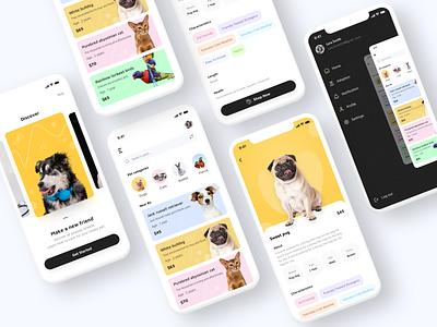 Pet mobile app design pets colorscheme shop sidemenu app animals concept design colors icons parrot cat dog onbording ui ux friend animal care petshop