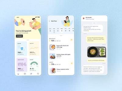 Dietitian app design mobile meal planner nutrition productdesign mobile design dietitian app diet health design app illustration ui design ui