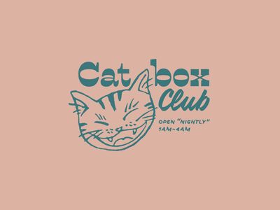 Feline Fine at Catbox Club type flat illustration cats vector branding vintage vintage design typography illustrator flat illustration logo vintage logo