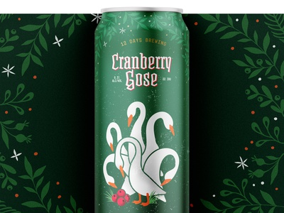 12 Days of Brewing :: 6 Geese a Laying branding vector illustration cpg design beer can design