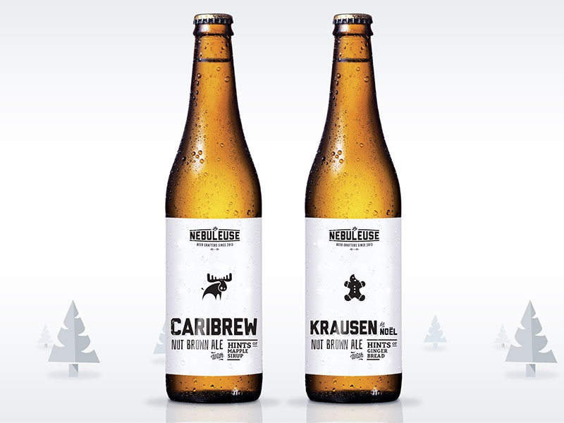 Christmas Beer Labels christmas beer label bottle drink moose gingerbread