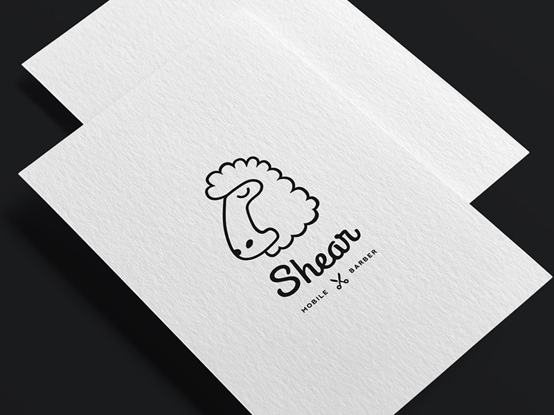 Shear shear sheep barber logo card animal simple