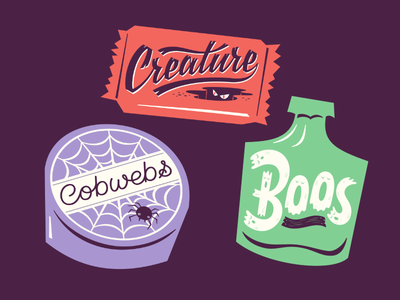Handful #3 vector creature boos cobwebs trickortreat illustration halloween candy lettering