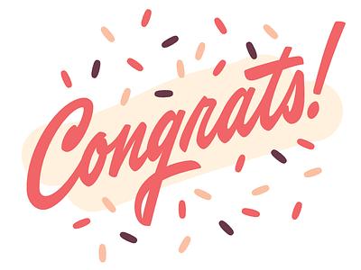 Congrats! congrats sprinkles midcentury script brushscript type lettering