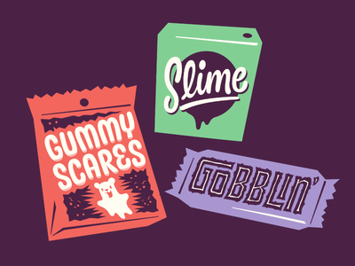 Handful #4 gummy slime candy trick halloween illustration lettering