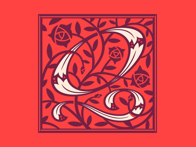 Type Fight Q roses floral type lettering q monogram typefight
