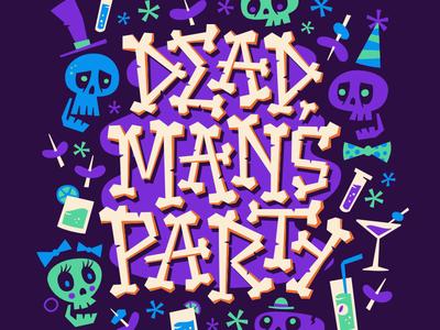 Dead Man's Party skulls bones party dead man oingo boingo lettering halloween
